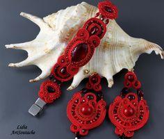 Red star* Conjunto soutache- Soutache rojo -Brazalete soutache -pendientes rojos de LidiaArtSoutache en Etsy