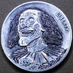 NARIMANTAS PALSIS HOBO NICKEL - 1935 BUFFALO NICKEL Hobo Nickel, Coin Art, Buffalo, Cactus, Coins, Carving, Rooms, Wood Carvings, Sculptures