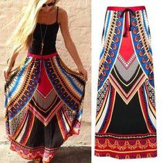 African Dashiki Print Women High Waist Boho Long Dress Traditional