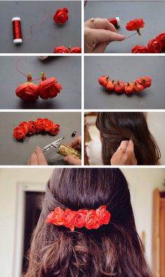 Niedliche DIY Stirnband Haarschmuck, die so einfach zu tun sind Cute DIY headband hair accessories that are so easy to do Diy Flower Crown, Diy Crown, Diy Flowers, Flowers In Hair, Fabric Flowers, Flower Ideas, Flowers Vase, Real Flowers, Nylon Flowers