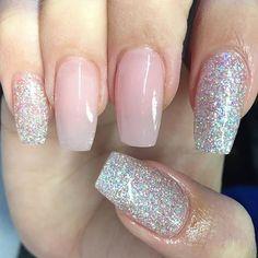 Custom silver and pink glitter nails! #nailsbycapps #pinkglitternails #balletslippernails