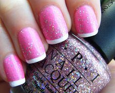Pink glitter with white tips.