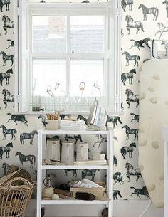 Equestrian-Decor-horse-wallpaper - cute for a bathroom Horse Wallpaper, Print Wallpaper, Room Wallpaper, Wallpaper Ideas, Equestrian Decor, Equestrian Style, Bathroom Kids, Bathrooms, My Dream Home