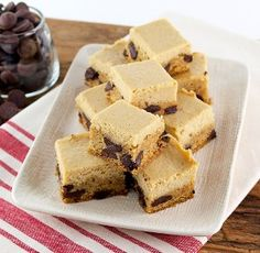What better way to spruce up a chocolate chip cookie bar than to add a flavorful cheesecake on top! Butterscotch Cheesecake Chocolate Chip Cookie Bars are an amazing dessert that you won't want to miss. It's truly like having two desserts in one. Unlike normal cheesecake recipes, there's no need to use a water bath in the oven, making this recipe even easier that others.