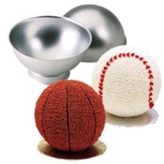 Sports Ball Cake Pan used to make Baseball Cakes or Basketball Cakes