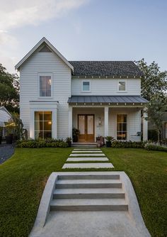 sweethomeandgarden:  (via Cottages / Maestri, LLC Modern Farm House)  love the windows, loose the straight sidewalk
