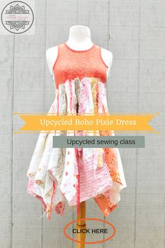 Upcycled Online Sewing Classes for Women by Wendy Bryant of CreoleSha. I will teach you how to create a dress similar to the ones in the photos that you will love and wear! Join many others that are already taking these classes. This is class - Upcycled Boho Pixie Dress The dress in the