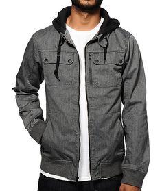 Empyre Derail Twill Jacket - Charcoal - $74.95 | A zipper twill body is contrasted by a black knit drawstring hood with 3 weatherproof zipper pockets and two snap button chest pockets plus one hidden on the inner left. | zumiez.com