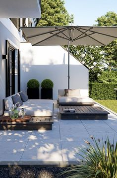 Solln Halbreiterstraße - LINK GmbH - The Munich house manufacturer - Solln Halbreiterstraße – LINK GmbH – The Munich house manufacturer - ideas on a budget diy projects Terrasse Backyard Patio Designs, Backyard Landscaping, Landscaping Ideas, Pergola Designs, Pergola Patio, Flagstone Patio, Patio Roof, Concrete Patio, Diy Patio