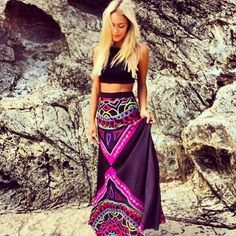 crop top and maxi skirt ╰☆╮Boho chic bohemian boho style hippy hippie chic bohème vibe gypsy fashion indie folk . ╰☆╮