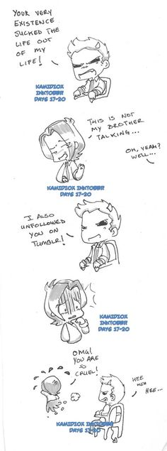 Inktober Dias 17-20 SPOILERS S10 by KamiDiox.deviantart.com on @deviantART.  oh dean even in cartoon form your evil.