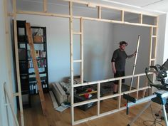 Inspiration from Rebuild customers - The Home Office Bedroom Divider, Room Divider Walls, Bedroom Decor, Room Divider Bookcase, Fabric Room Dividers, Hanging Room Dividers, Studio Apartment Decorating, Apartment Design, Small Rooms