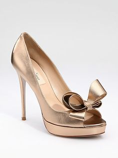 Valentino - Couture Bow Pumps - Saks.com in rose gold...I will make a registry strictly on these babies!