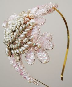 head band with pearls, sequins, beads