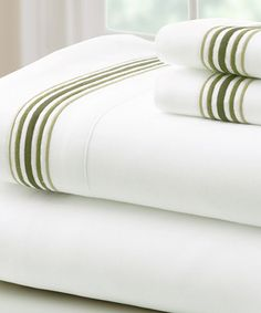 Look at this Sage Marrowing Hem Microfiber Sheet Set on #zulily today!