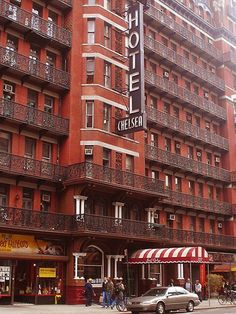 The Chelsea Hotel. The emblematic residence of New York musicians, artists and writers, with its shabby bohemian aesthetic. Arthur Miller and Andy Warhol have both stayed here.  It is half residential and half hotel in Chelsea.  NEW YORK CITY.