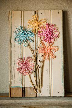 Springtime Twine Flowers on Vintage Beadboard by MadePrettyAgain, $20.00