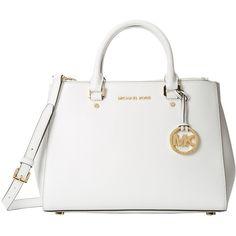MICHAEL Michael Kors Sutton Medium Satchel ($328) ❤ liked on Polyvore featuring bags, handbags, optic white, medium satchel, hardware bag, saffiano leather handbag, michael michael kors purse and flat purse