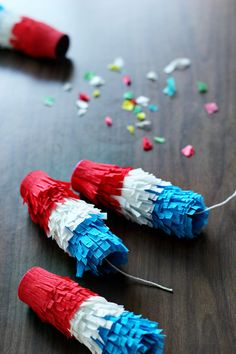DIY confetti poppers for the Fourth of July, or New Year's Eve or birthday parties or anniversaries or graduation or weddings.