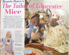 Three Patterns by Alan Dart to Make Two Beatrix Potter Tailor of Gloucester Mice Toy Dolls plus a Child's Sweater with Tailor Mouse Motif