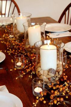 Fall Table Decor: Fill The Bottom Of Three Glass Hurricanes With Mixed Nuts  And Added Pillar Candles. Add Five Small Votive Holders Within  Orange Berried ...