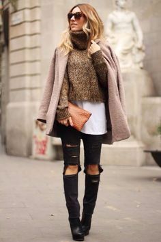 Cropped turtle neck jumper mix and match fashion
