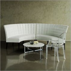 """elegant curved banquette in white microsuede dimensions for 2 pieces combined: 9' 2"""" wide point to point 55"""" deep 60"""" internal diameter taylor creative inc"""