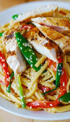 Asian chicken salad with noodles and peanut sauce