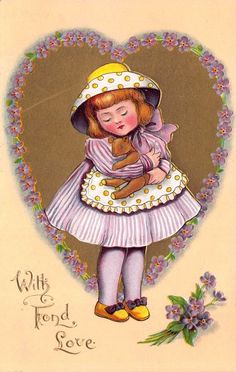 Valentine Postcard Little Girl Dressed in Purple Hugging a Teddy Bear~114025 #ValentinesDay