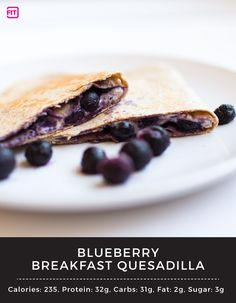 Wake up with this tasty and healthy breakfast treat! This Blueberry Breakfast Quesadilla with IdealLean Protein has 32g of protein to keep you going all day