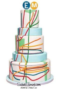 New York subway map wedding cake