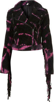 ShopStyle: Tie Dye Suede Biker Jacket