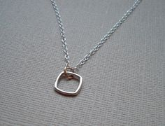 Sterling Silver Necklace with Tiny Puffed Square Pendant