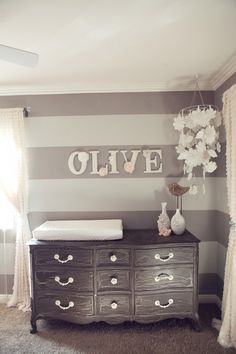 Soft grey for a babys room. Blue or pink accents. How cute!