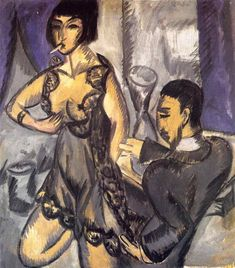 Expressionist Painter Ernst Ludwig Kirchner (German: - Couple in a Room Ernst Ludwig Kirchner, Harlem Renaissance, Ludwig Meidner, George Grosz, Expressionist Artists, Art Database, Art Moderne, Oeuvre D'art, Colors