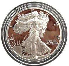 1 Eisenhower Centennial $1 Proof Silver Dollar Coin w//COA /& Box 1990 P U.S