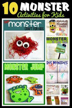 10 Monster Activities for Kids. Fun for Preschool theme!