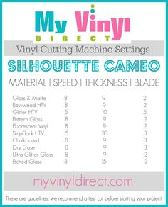 My Vinyl Direct Vinyl Cutting Machine Settings Silhouette Cameo