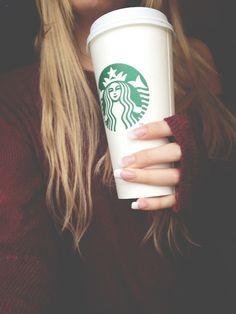 Venti Starbucks cup hair starbucks blonde girl drink coffee