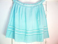 Vintage Turquoise Blue Gingham Half Apron-Turquoise makes gingham a bit exotic and ethnic I think