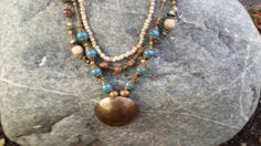 Ivory seed and glass brown rustic clay blue by DesignsbyPattiLynn
