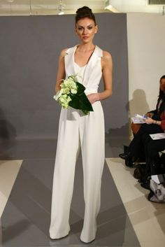 2014 Wedding Trend: 53 Elegant Bridal Pantsuits | HappyWedd.com FINALLY - one that I love. I want to wear this top with a skirt!