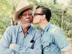 """At Morgan Freeman's farm just outside Charleston, MS. When asked """"How did you sneak a kiss?"""" Jim responded, """"I told him that 40 girls told me, 'Kiss Morgan for me!,' but I'd only make him do it once."""" (Photo by Jim Herrington, Garden and Gun, Behind the Shoot with Morgan Freeman)"""