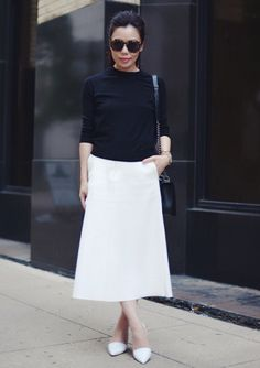 4.14 classic black & white (ASOS black knit top + Zara a-line skirt + Vince pointed toe pumps + Chanel bag + Karen Walker sunnies)