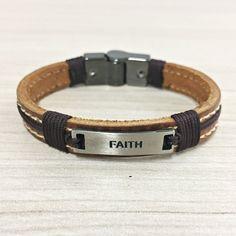 Pulseira Masculina Couro Faith Fechamento Magnético mens bracelets fashion style cocar brasil