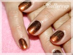 Fedora CND Shellac with russet pigment fades and Mother of Pearl shimmer