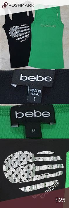 ✨SALE✨2 Bebe Tanks🍃🌚 Bundle for 2 Bebe Tank Tops! Fits S/M! Both 10/10 Condition! Price Firm! bebe Tops Tank Tops