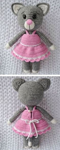 This charming lady cat amigurumi will be the best friend of your dear child Gato Crochet, Knit Or Crochet, Crochet Crafts, Crochet Dolls, Crochet Projects, Amigurumi Animals, Amigurumi Doll, Crochet Animals, Crochet Toys Patterns