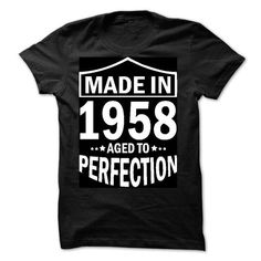 Made in 1958 - Aged to Perfection - #gift ideas #thank you gift. LIMITED TIME => https://www.sunfrog.com/Birth-Years/Made-in-1958--Aged-to-Perfection-76184082-Guys.html?68278