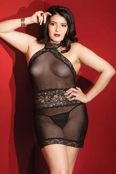Sexy Plus Size Curvy Halter Sheer Scalloped Lace Dress Lingerie OS/XL